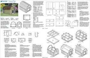 Large Dog House Plans Gambrel / Barn Roof Style 90304B, Pet Size up ...