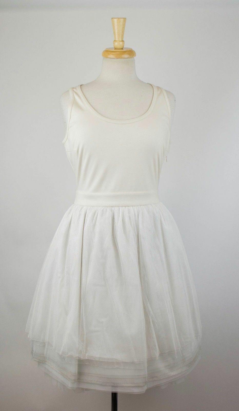 NWT BRUNELLO KUCINELLI Kvinnors Ivory Cotton Blend Tulle kjol Dress Storlek L  2895