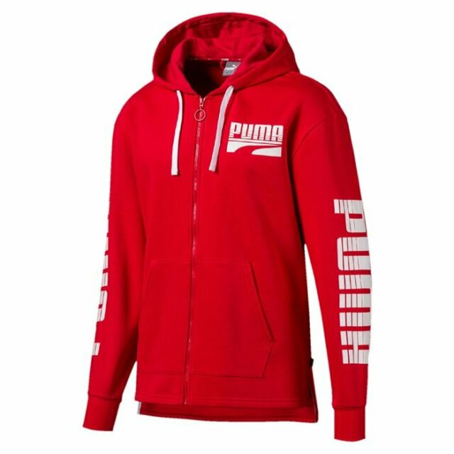 Puma Men's Rebel Bold Fz Hoody Fl Pullover Hooded Top Hoodie Hoody Red Bnwt New