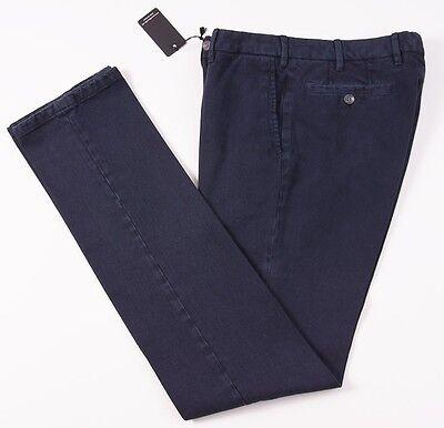 NWT $295 MARZULLO Sartoria Napoletana Indigo Navy Denim Cotton Pants 35 Slim-Fit
