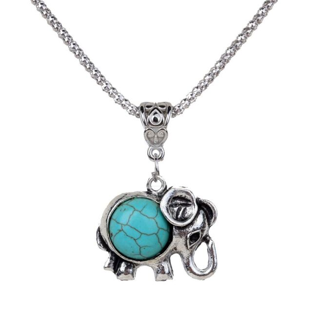 Calf Elephant Inlay Round Green Turquoise Women Silver Necklace Chain Pendant