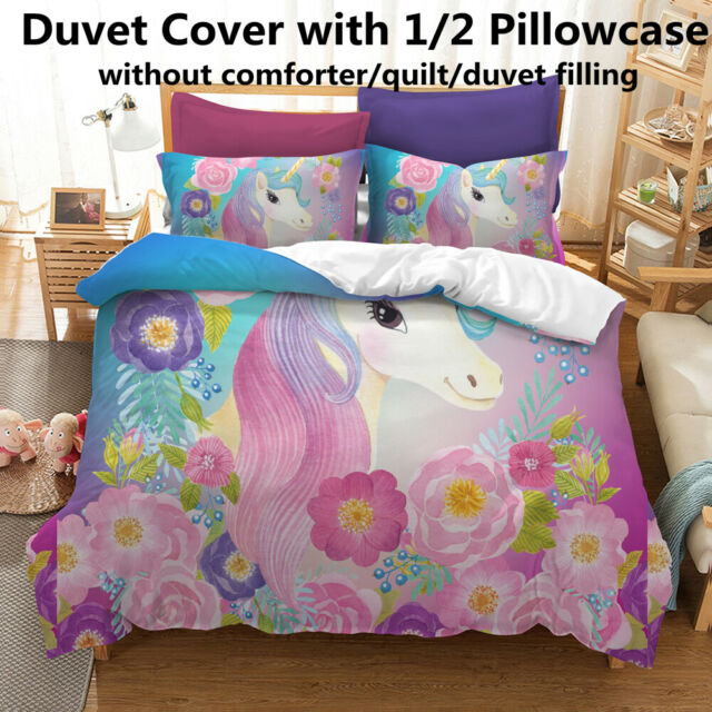 3D Unicorn Printed Duvet Cover w// Pillowcase Twin Queen Quilt Cover Bedding Set
