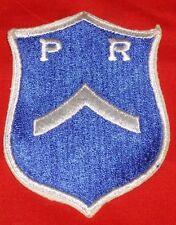 Pershing Rifles Private Rank ROTC Blue White Military Shield Patch P R Strip