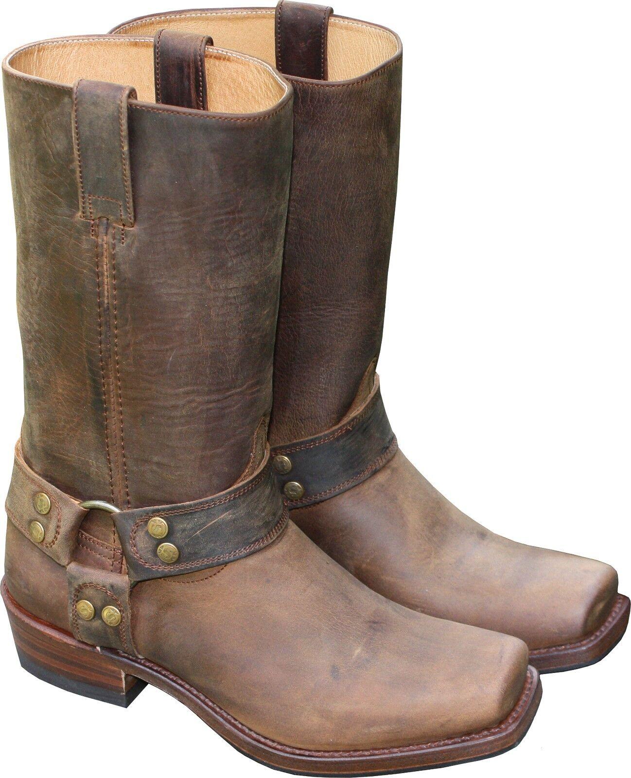 Sendra Bottes Cuir Cowboy Biker western bottes marron short Cut Country NEUF