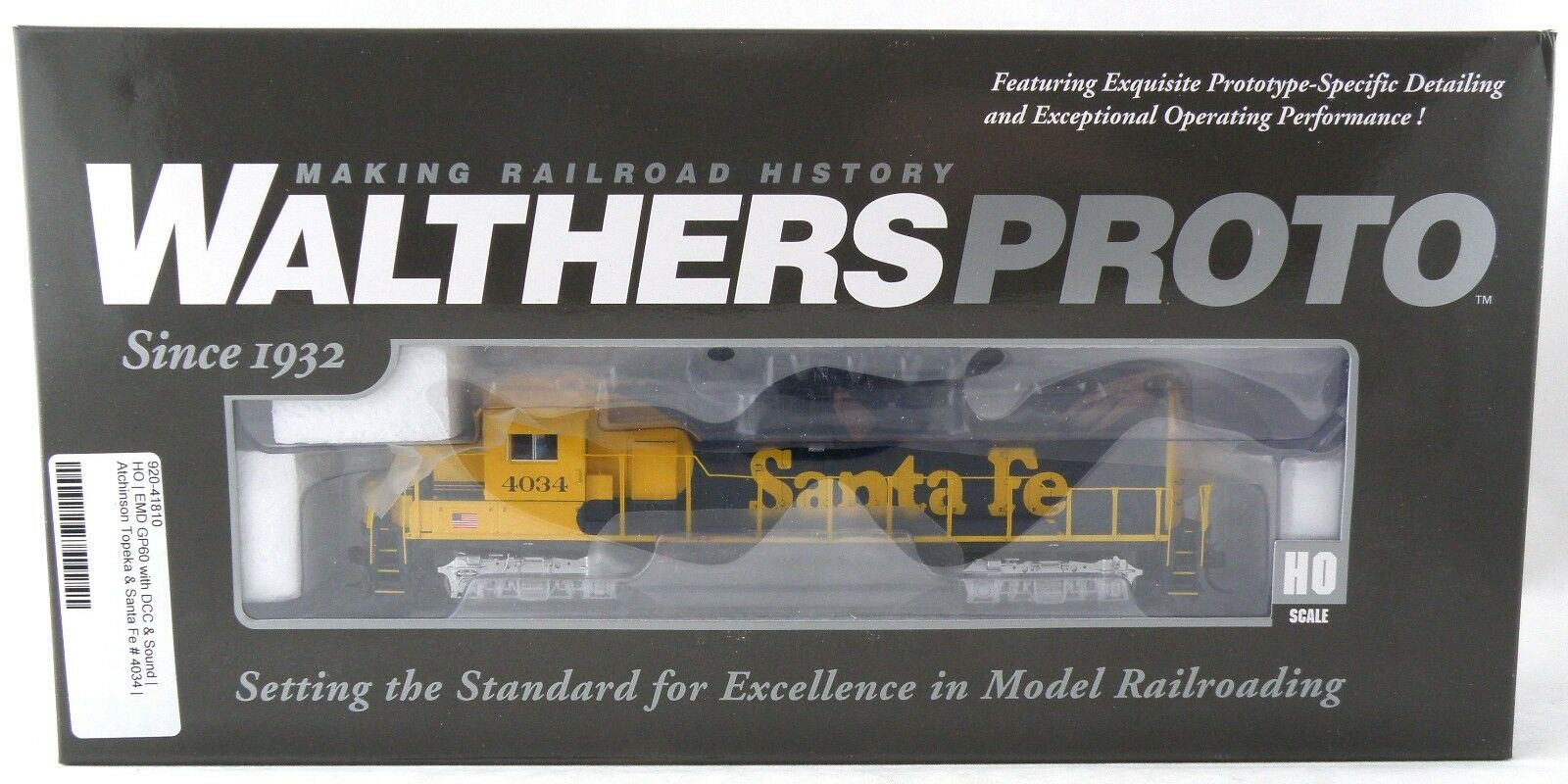 Ho - skala emd gp60 lokomotive w   dcc & sound - santa fe - walthers   920-41810 4034