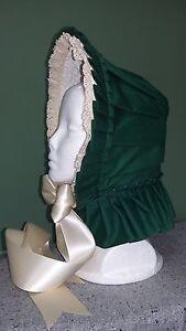Civil-War-Reenactment-Dress-Green-Cotton-Pleated-Bonnet