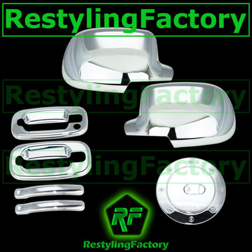 99-06 Chevy Silverado Triple Chrome Mirror+2 Door handle w//o PSG KH+Gas Cover