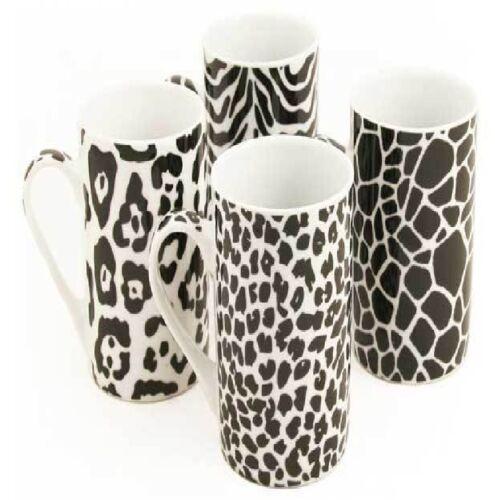 PORCELAIN HOT DRINK TEA COFFEE CUP MUG MULTI COLOUR DESIGN 12 oz PACK OF 4 MUGS
