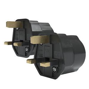 2x-Reiseadapter-UK-England-GB-Stecker-3pin-auf-DE-EU-Steckdose-Reisestecker