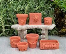 Miniature Dollhouse FAIRY GARDEN Accessories ~ Set of 7 Assorted Pots ~ NEW
