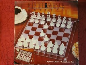 Fifth-Avenue-Crystal-Chess-Checkers-Set-used-once-FREE-1-3-Day-Shipping