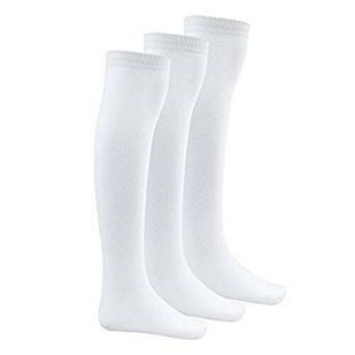 Girls Knee High White School Lycra Cotton Fresh Feel Socks UK9-12 EU27-30