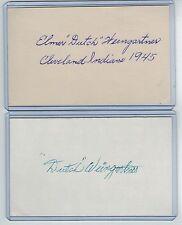 """(2) ELMER """"DUTCH"""" WEINGARTNER INDEX CARD SIGNED 1945 INDIANS PSA/DNA 1918-2009"""