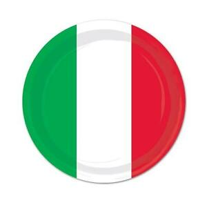 Image is loading ITALIAN-PAPER-PLATES-PACK-OF-8-X-23CM-  sc 1 st  eBay & ITALIAN PAPER PLATES PACK OF 8 X 23CM DIAMETER OF ITALY RED WHITE ...
