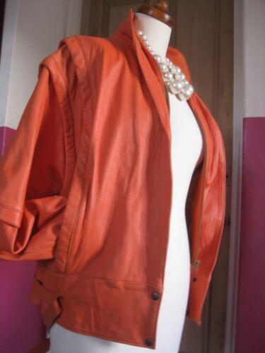 futuriste 14 orange Uk Biker cuir des 1980 Vintage 1980 en années 16 veste véritable Retro fwxv0I