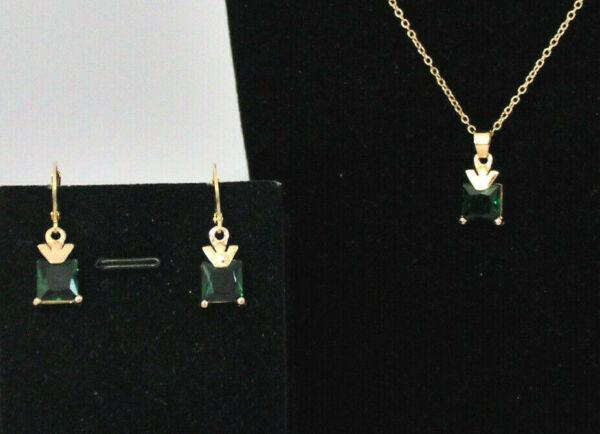 2-teiliges Schmuckset Damen Ohrringe Kette Zirkonia Viereckig Versch. Farben Neu