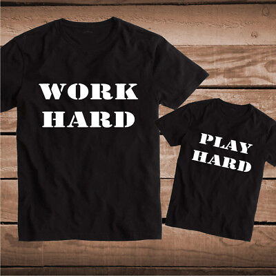 bb92 Work Hard Play Hard Custom Tee Tees T-Shirts Toddler Father Son Matching