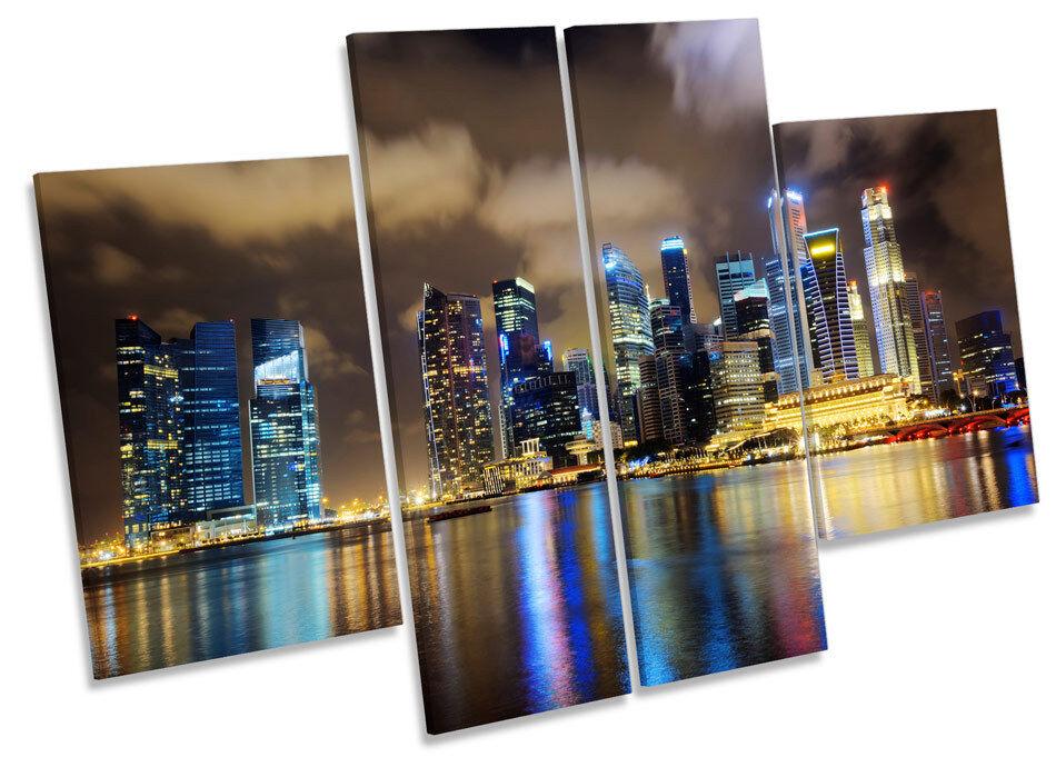 Singapur horizonte de la ciudad noche noche ciudad DE LONA pa rojo  arte Marco de Caja de impresión de panel de múltiples 62aa0a