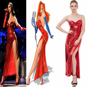New-Jessica-Red-Sequin-Slit-Costumes-Evening-Prom-Party-Women-Dress-Formal-ball