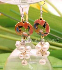 6-7mm-White-Round-Natural-Pearl-with-18mm-Pink-Cloisonne-Dangle-earring-ear516