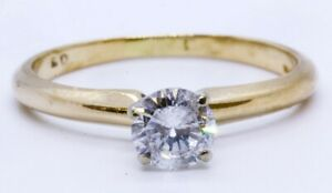 Magic Glo 14K Solid Yellow Gold 0 50ct Round Diamond Solitaire