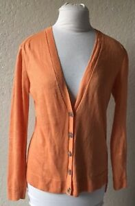 York 0331 Lafayette Cardigan Knit 148 Button Thin New Small Burnt Orange Linen EErPfqwpB