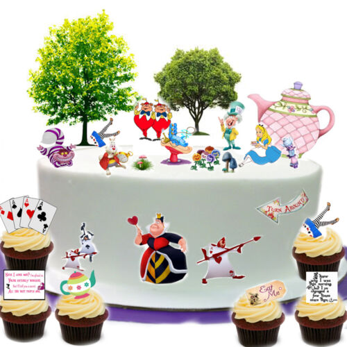 Alice In Wonderland Tea Party Cake Scene Edible Premium Wafer Paper Cake Topper
