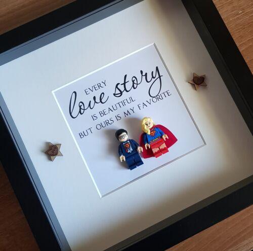 Love Story Superman And Superwoman Lego Custom Frame 3D