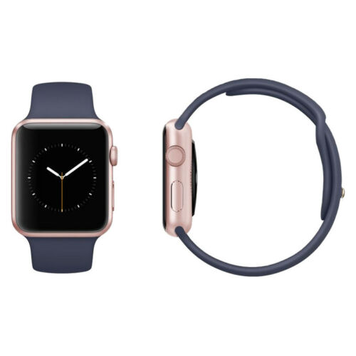 1 of 1 - Apple Watch Series 2 42mm Rose Gold Aluminium Case Midnight Blue Sport Band