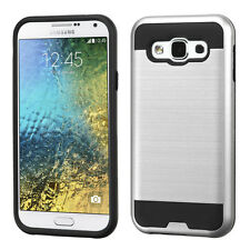 For SAMSUNG Galaxy E5 SILVER BLACK BRUSHED SKIN COVER CASE + CLEAR SCREEN FILM