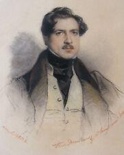 Paul Delaroche 1834 handsome male portrait drawing Eugene Lami French artist