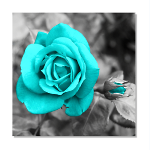 Canvas-Wall-Art-Teal-Rose-Flowers-Pictures-Wall-Decor-Prints-Painting-Framed
