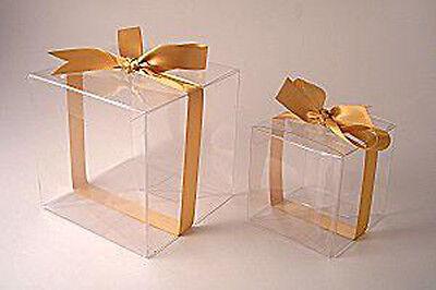 400 Bomboniere favor LARGE PVC Plastic wedding muffin cake gift box 9cm BULK BUY