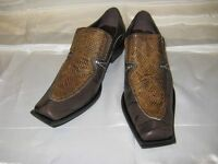 Fiesso Brown Snake And Leather Print Shoes Fi 6420