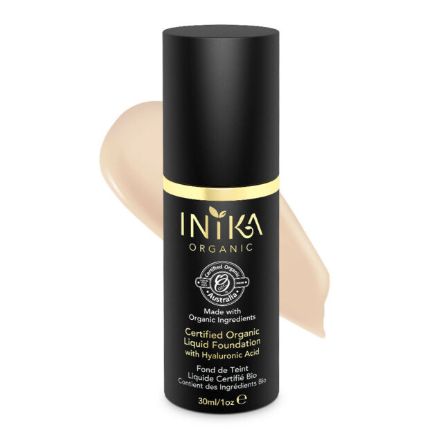 New Inika Certified Organic Liquid Mineral Foundation Cream with Hyaluronic Acid