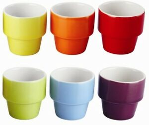 Set of 6 Bright Coloured  Egg Cups. Stackable. Stoneware