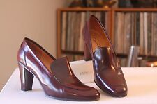 David Aaron Burgundy Leather 3 Inch Heel  Pumps Size 8.5 M Made In Spain