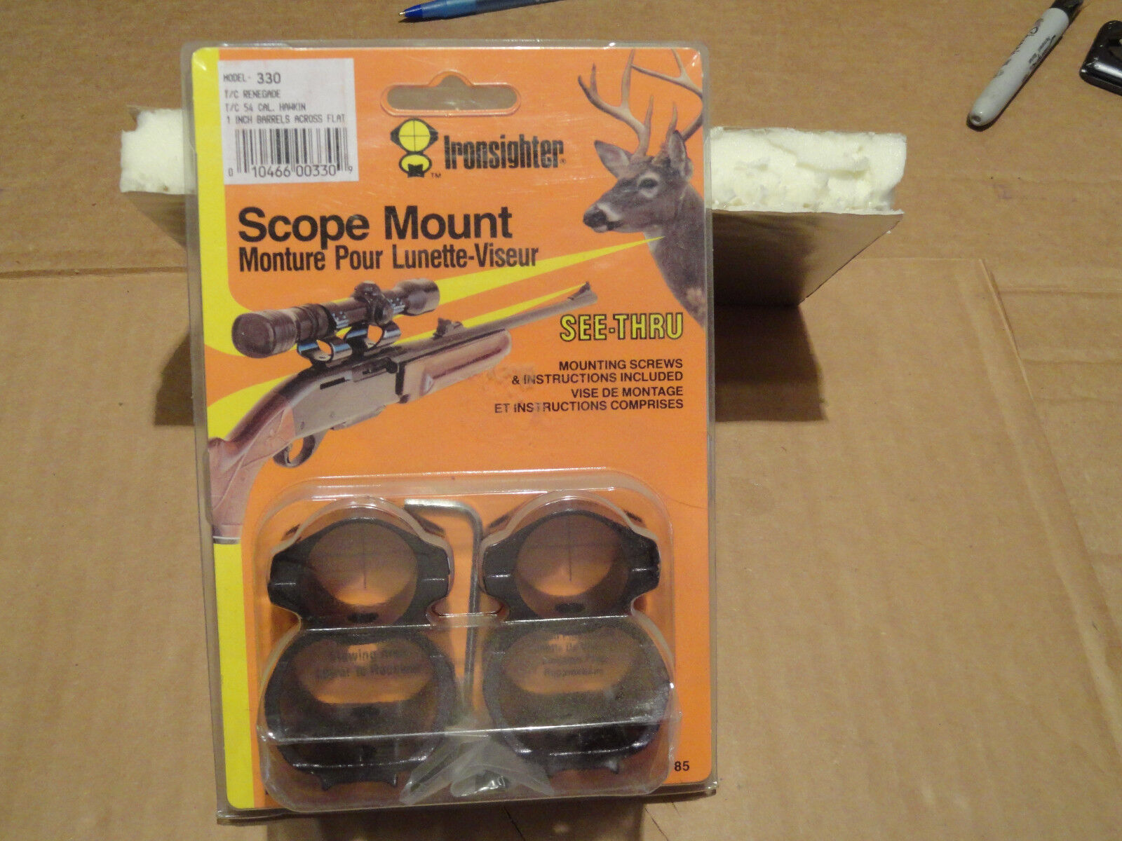 NOS Ironsighter Scope Mount & Rings. Fit TC Renegade, TC .54 Cal Hawken