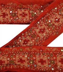Trims Trim & Edging Sanskriti Vintage Dark Red Sari Border Hand Beaded Indian Craft Trim Ribbon Lace