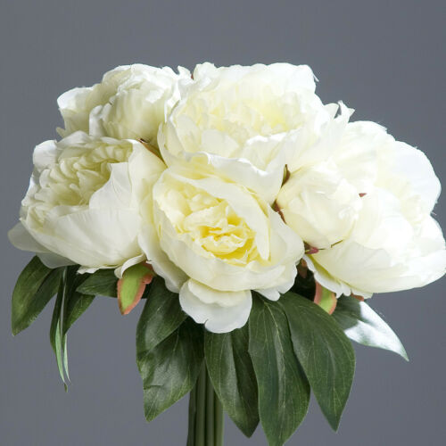 Großes Pfingstrosenbouquet 35cm weiß Kunstblumen künstliche Pfingstrosen Bouquet