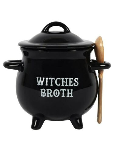 Bowl Witches Broth Cauldron Soup With Broom Spoon Black