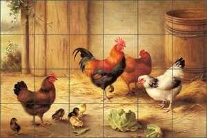 Rooster Tile Backsplash Ceramic Mural