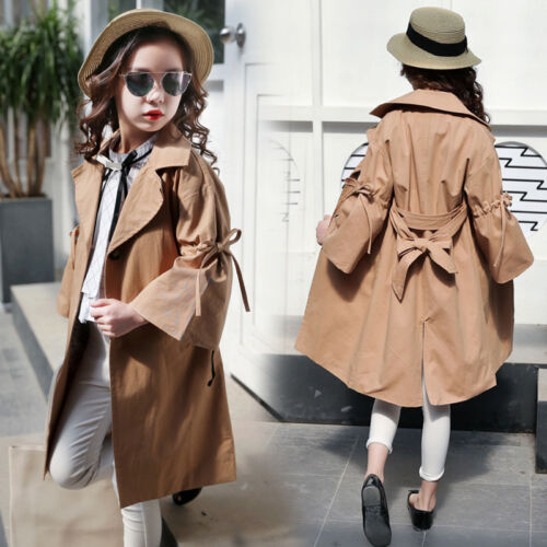 Toddler Kids Baby Girls Trench Coat Autumn Jacket Windbreaker Outerwear Coats
