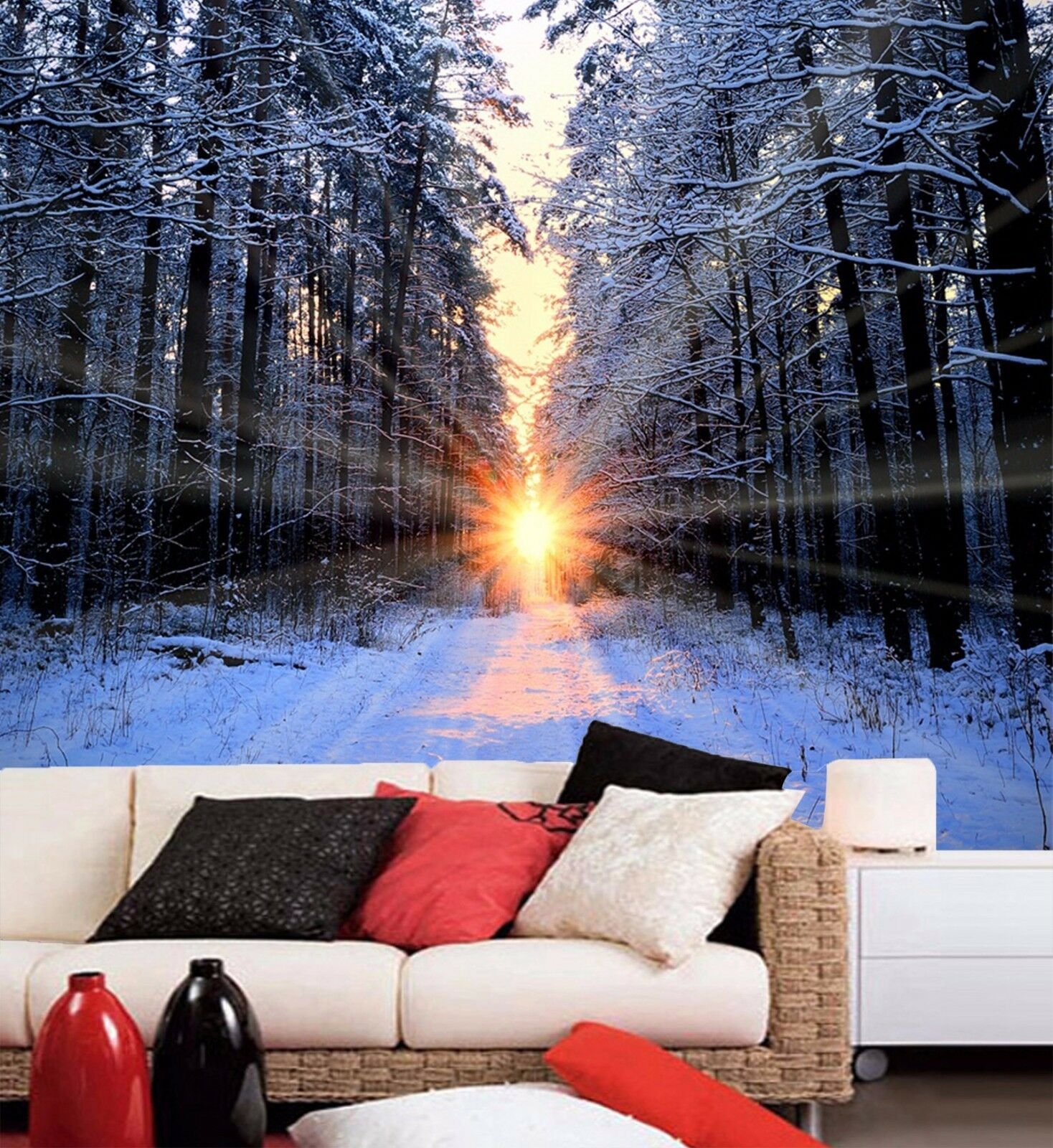 3D sunset forest snow Wall Paper Print Decal Wall Deco Indoor wall Mural