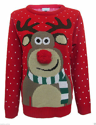 Unisex Xmas Novelty Rudolph Chrismas Pom Pom Jumper *new Lower Price* Um Jeden Preis