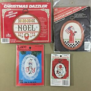 Lot-of-4-Christmas-counted-cross-stitch-kits-bear-noel-Santa-goose-vintage-new