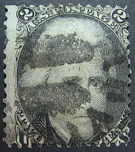 US SCOTT # 73 - 2¢ - ANDREW JACKSON black, USED c1863, Used AVF SCV$70.00