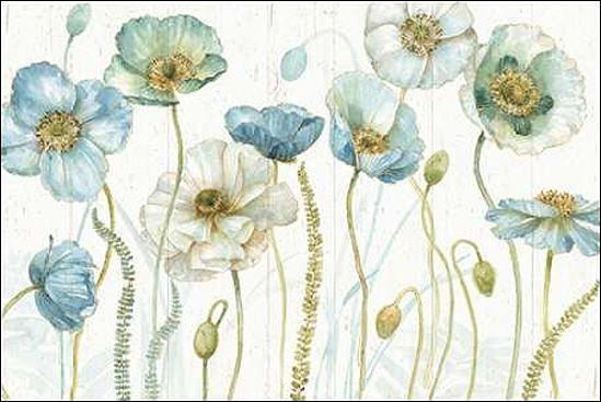 Lisa Audit  My Grünhouse Flowers I on Wood Keilrahmen-Bild Leinwand Blaumen blau