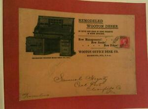 1892 Wooton Office Desk Co. High Roll No.(530 1/2)  Richmond IN. Postmark Poster