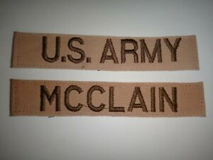 2 Desert Tan US ARMY Patches: U.S. ARMY Pocket Tape + McCLAIN Name tape
